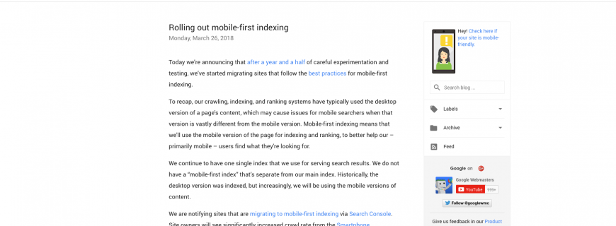 Mobile First Indexing von Google gestartet