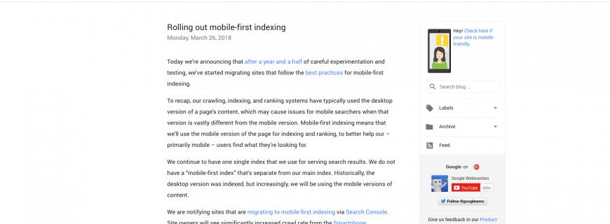 Mobile First Indexing von Google gestartet