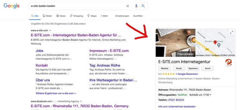 e-site.com-card bei google